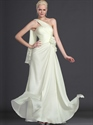Pale Yellow Chiffon Bridesmaid Dress With Floral And One Shoulder Detail