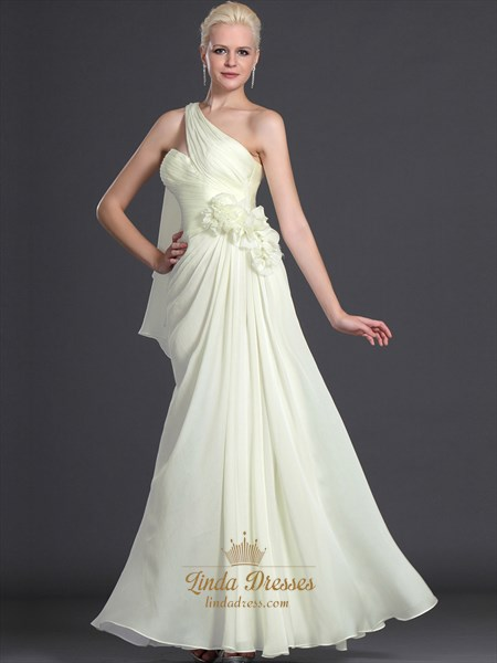 cbe439cd20 Pale Yellow Chiffon Bridesmaid Dress With Floral And One Shoulder Detail