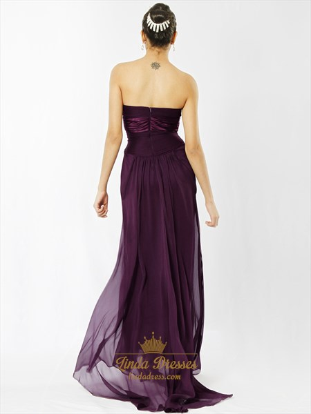 Grape Strapless Empire Waist Chiffon Floor Length Bridesmaid Dresses