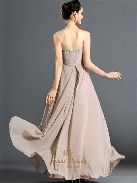 Champagne Sweetheart Empire Chiffon Bridesmaid Dresses With Beading