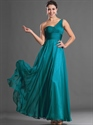 Show details for Teal One Shoulder Chiffon Floor Length Bridesmaid Dresses With Ruching