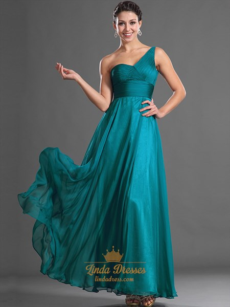 Teal One Shoulder Chiffon Floor Length Bridesmaid Dresses With Ruching