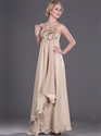 Show details for Champagne Chiffon Long Prom Dress With 3d Floral Detail And Sequin Trim