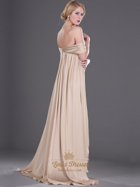 Champagne Chiffon Long Prom Dress With 3d Floral Detail And Sequin Trim