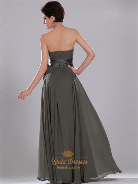 Grey Chiffon Ruched Bodice Strapless Bridesmaid Dresses With Sash