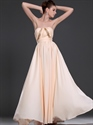 Show details for Peach Strapless Chiffon Bridesmaid Dresses With Embellished Bodice