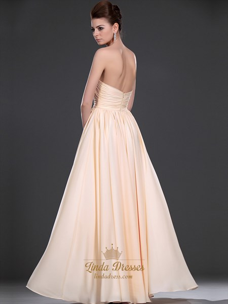 Peach Strapless Chiffon Bridesmaid Dresses With Embellished Bodice