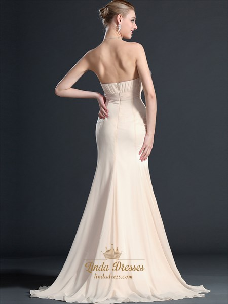 Champagne Strapless Empire Chiffon Prom Dresses With Embellished Bodice