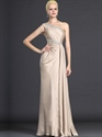 Show details for Champagne Sheath One Shoulder Chiffon Prom Dresses With Beading