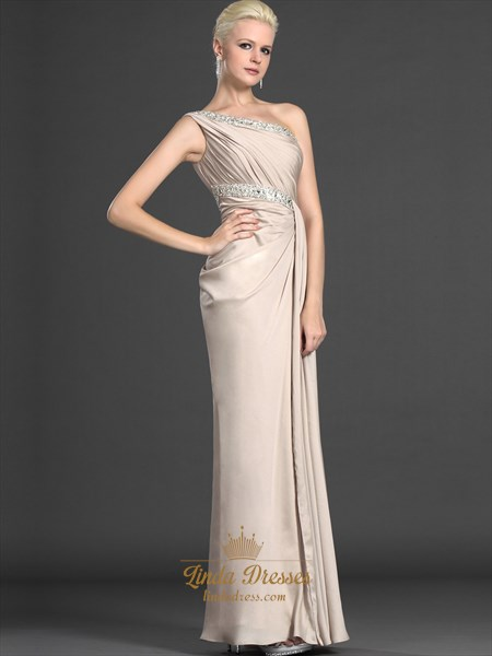 Champagne Sheath One Shoulder Chiffon Prom Dresses With Beading