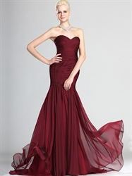 Elegant Burgundy Strapless Mermaid Chiffon Ruched Bodice Prom Dresses