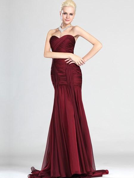 Elegant Burgundy Strapless Mermaid Chiffon Ruched Bodice Prom Dresses