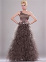 Show details for Coffee One Shoulder Floor Length Prom Dress With Tulle Ruffle Skirt