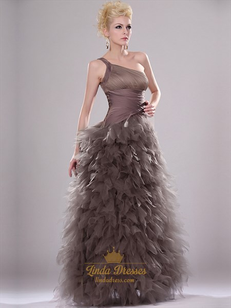 Coffee One Shoulder Floor Length Prom Dress With Tulle Ruffle Skirt