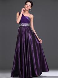 Purple One Shoulder Embellished Floor Length Prom Dress With Beading
