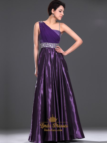 Purple One Shoulder Embellished Floor Length Prom Dress With Beading