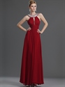 Show details for Red Sleeveless A-Line Chiffon Prom Dress With Beaded Jewelled Neckline