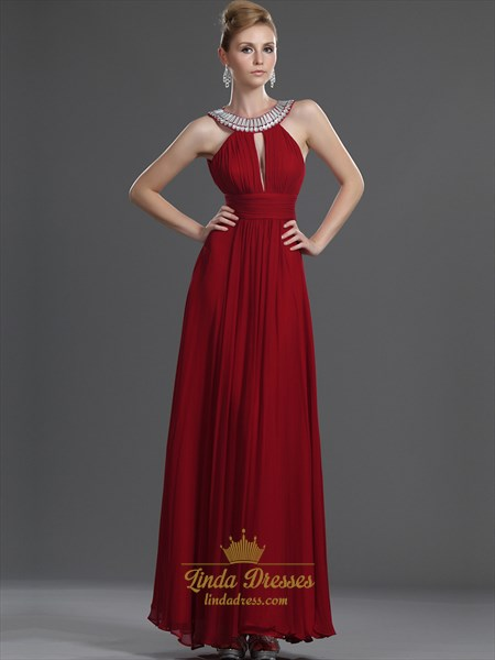 Red Sleeveless A-Line Chiffon Prom Dress With Beaded Jewelled Neckline