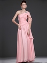 Pink One Shoulder Beaded Chiffon Prom Dress With Cascading Detail