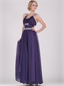 Purple Chiffon Jewelled Neckline Prom Dresses With Beaded Straps
