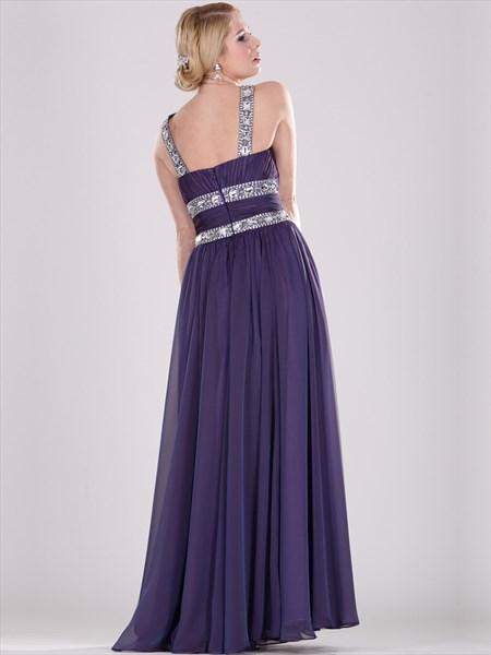 Purple Chiffon Jewelled Neckline Prom Dresses With Beaded Straps