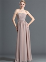 Show details for Pastel Pink Chiffon Strapless Long Bridesmaid Dress With Beading