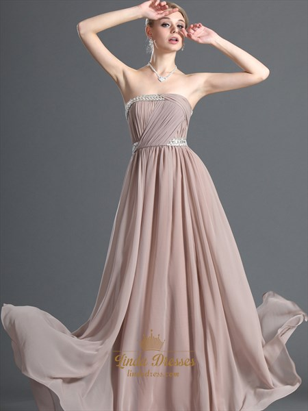 Pastel Pink Chiffon Strapless Long Bridesmaid Dress With Beading