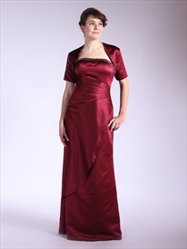 Burgundy Sheath Strapless Beaded Mother Of The Bride Dress With Jacket