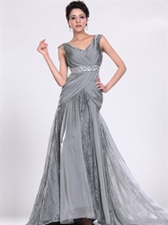 Grey Sheath V-Neck Chiffon Side Drape Prom Dress With Beaded Waist