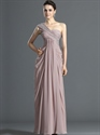 Show details for Pastel Pink One Shoulder Beaded Chiffon Prom Dress With Side Drape
