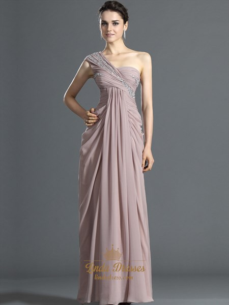 Pastel Pink One Shoulder Beaded Chiffon Prom Dress With Side Drape