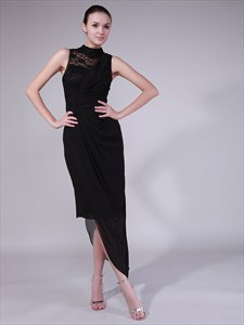 Black Sheath High Neck Lace Chiffon Skirt Prom Dress Asymmetrical Hem