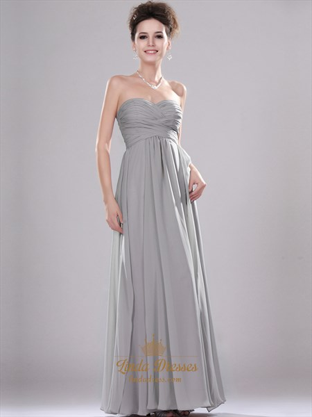 Grey Sweetheart Strapless Chiffon Bridesmaid Dresses With Pleated Bodice