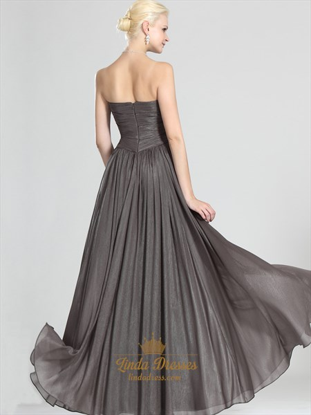 Grey Chiffon Strapless A-Line Bridesmaid Dresses With Ruched Bodice