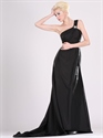 Show details for Black One Shoulder Chiffon Bridesmaid Dresses With Beaded Detail