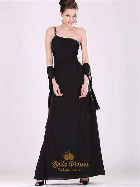 Black One Shoulder Chiffon Bridesmaid Dresses With Beaded Straps