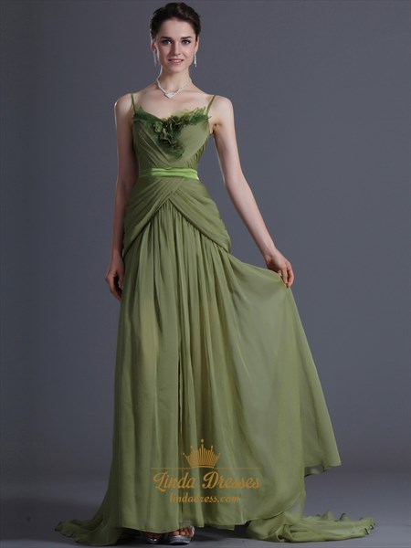 Apple Green A-Line V-Neck Chiffon Prom Dresses With Floral Detail