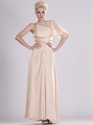 Peach One Shoulder Beading Chiffon Prom Dress With Split Front Skirt