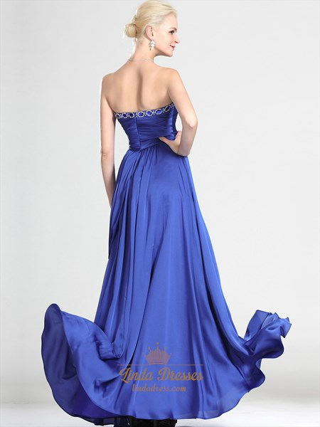 Royal Blue Strapless Chiffon Prom Dress With Asymmetrical Draping