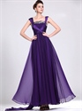 Show details for Purple A-Line Straps Chiffon Sequin Top Prom Dress With Cap Sleeves