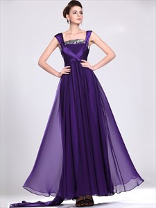 Purple A-Line Straps Chiffon Sequin Top Prom Dress With Cap Sleeves