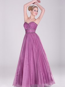 Fuchsia Organza Sweetheart Strapless A-Line Prom Dress With Beading