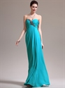 Show details for Turquoise Strapless Empire Waist Prom Dress With Ruched Bust And Beading
