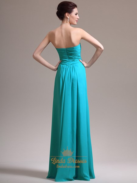 Turquoise Strapless Empire Waist Prom Dress With Ruched Bust And Beading