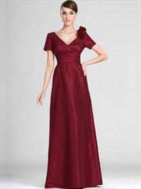 Burgundy Taffeta V-Neck Short Sleeves Bridesmaid Dresses With Flower
