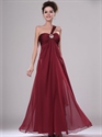 Show details for Burgundy One Shoulder Chiffon Bridesmaid Dresses With Beaded Detail