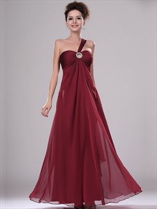 Burgundy One Shoulder Chiffon Bridesmaid Dresses With Beaded Detail