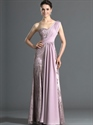 Show details for Pink Lace Sheath One Shoulder Prom Dress With Rhinestone Detailing