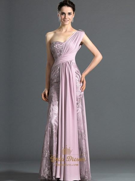 Pink Lace Sheath One Shoulder Prom Dress With Rhinestone Detailing