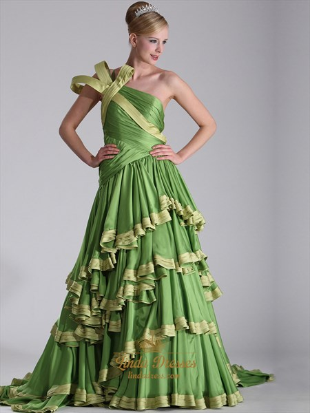 Apple Green One Shoulder Chiffon Prom Dresses With Layered Skirt